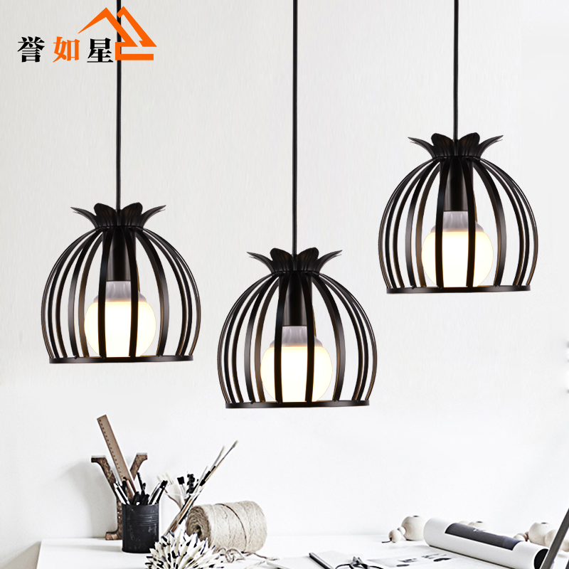 E27 Simple modern wrought iron nordic study creative personality single head restaurant chandeliers<br>
