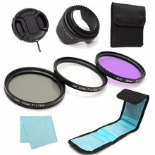 7Pcs 52mm UV CPL Circular Polarizing FLD Lens Filter Kit Hood For Canon For Nikon Digital Camera SLR DSLR