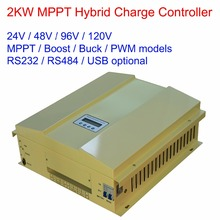 2000W/2KW 24V/48V/96V/120V MPPT/BULK/BOOST/PWM LCD display wind solar(600W) hybrid charge regulator controller with RS232(China)