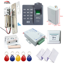 Fingerprint RFID Access Control System Kit Frame Glass Door Set+Eletric Bolt Lock+ID Card Keytab+Power Supplier+Button+DoorBell(China)