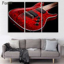 Canvas Wall Art UnFramed Home Decor Pictures 3 Pieces Electric Guitar Paintings Vintage Music Instrument Posters HD Printed PENG(China)