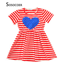 SOSOCOER Girl Dress Sundress 2017 Summer Stars Striped Kids Dresses Blue Heart Toddler Girls Princess Dress Baby Clothes Outfits(China)