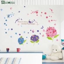 MARUOXUAN Hydrangea Flowers Flowers Stickers Bedroom Living Room Cabinets TV Background Decoration PVC Wall Stickers 135*95CM