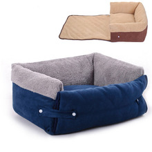 Multifunctional Navy Blue Clamshell Dog Sofa Bed Flip Small Medium Dog Kennel Blanket Keep Warm Cat Dog House Mat Pet Products(China)