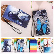 For Micromax Canvas Pace Q415 Case With Card Slots High Quality PU Leather Painting Blue Butterfly & Owl Case+Lanyard gift