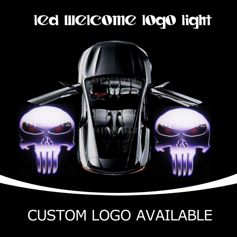 PUNISHER Skull Car Step Courtesy Light LED Projector Logo Laser Ghost Shadow Puddle Light  For CADILLAC FORD CORVETTE DODGE 2208<br><br>Aliexpress
