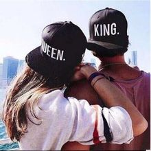 2017 New KING QUEEN Print Trucker Caps Men Women Polyester Mesh Summer Flat Visor Snapback Hat Black Couple Gifts