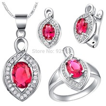 Jewellery Set for Women Created Gemstone Jewelry Rhinestone Pendant Necklace Ring Sets Blue Red Purple Pink Colors(China)