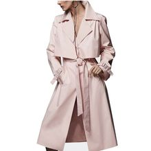 Hot Sales Long Solid Casual Belt Slim Women's Trench Coat Winter 2017 New Arrival Thin Pink Winter's Coats For Women F698