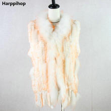 hot sale knitted rabbit fur vest raccoon dog fur collar knitted vest rabbit fur waistcoat gilet colorful