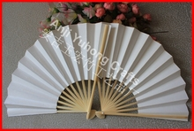 50pcs/lot Wholesale Home Decor Or Gift Japanese Style Bamboo Chopsticks Folding Paper Hand Fan Wedding/Party Decors' Fans