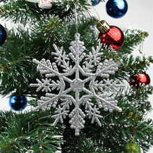 s New Glitter Snowflake Christmas Ornaments Xmas Tree Hanging Pendants Home Decoration Party Gift 10cm - Yummy Secret store