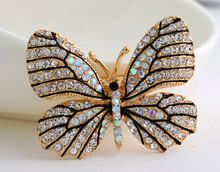 OneckOha High Quality Fashionable Rhinestone Butterfly Brooch Pin Gold Women Dress Wedding Bridal Brooch Pin(China)