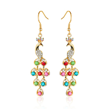 Atreus New Fashion Chic Multi-colors Crystal Peacock Earrings Fringed Tassel Long 0Drop Earrings For Women Jewelry Bijoux(China)