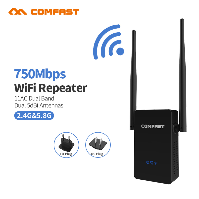 COMFAST CF-WR750AC Dual Band 750M WIFI Extender Repeater 5.8G 802.11AC Wireless WI-FI repeater signal amplifier Roteador Router<br>