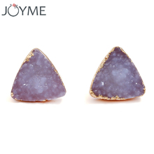 New Resin Quartz Crystal Stud Earrings For Women Gold Color Triangle and Round Design Black Blue Red Color Small Earing Studs(China)
