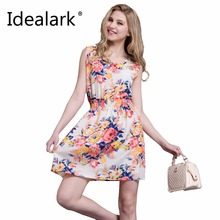 2017 summer autumn new Korean Women casual Bohemian floral leopard sleeveless vest printed beach chiffon dress vestidos WC0344(China)