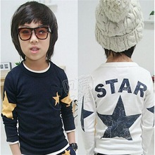 New 2017 spring and autumn children t shirts, hot sale boy clothes, star pattern long-sleeve T-shirt