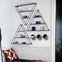 collalily American style Nordic Wall Storage Holders Racks metal geometric  triangle Modern Design Hanger corridor Rail bookrack