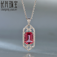 Hot sale 1.98ctw 7x9mm Emerald Cut Pink Tourmaline 14Kt White Gold Natural Diamond Charming Pendant for elegant lady