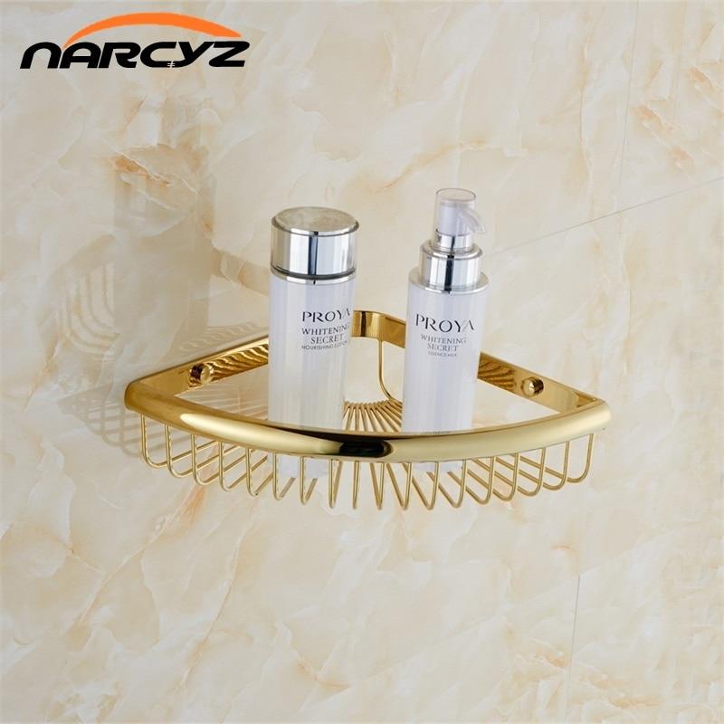 Bathroom Shelves Golden Brass Material With   Bathroom Storage Basket Wall Mounted Bathroom Shelf Silver 9096K<br>