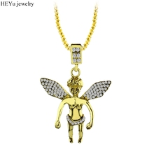 Buy HipHop Gold Color Necklace Cupid Angel Pendant Necklace Crystal Wings Love Jewelry Cherub Link Chain Women/Men Gift for $2.57 in AliExpress store