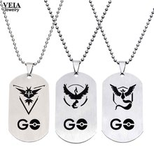 New Fashion Pokemon Go Necklace Game Anime Stainless Steel Team Valor Mystic Instinct Logo Bead Chain for Women and Men Fans