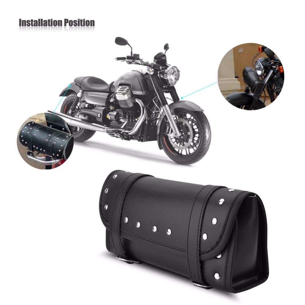 PU Leder Motorrad Vorne Hinten Gabel Werkzeugtasche Motorrad Lenkertasche Schwarz Satteltaschen Motorr/äder f/ür Motorrad