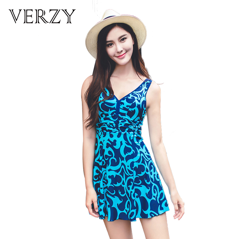 Super size swim suit one piece low back print v-neck swimming clothing beach dress anti exposed breathable stretch well sexy<br>