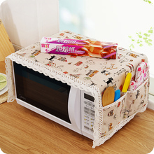 1pc Cotton Dust Cover Microwave Cover Microwave Oven Hood Microwave Towel With Storage Bag(China)