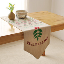 French country cafe bar decorated French Linen Tablecloth table runner