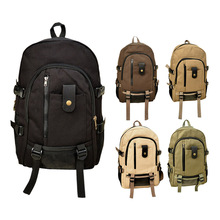 Hot Sale Men Women's Vintage Canvas Backpack Unisex Rucksack School Bags for Teenagers Satchel Bag LBY201(China)