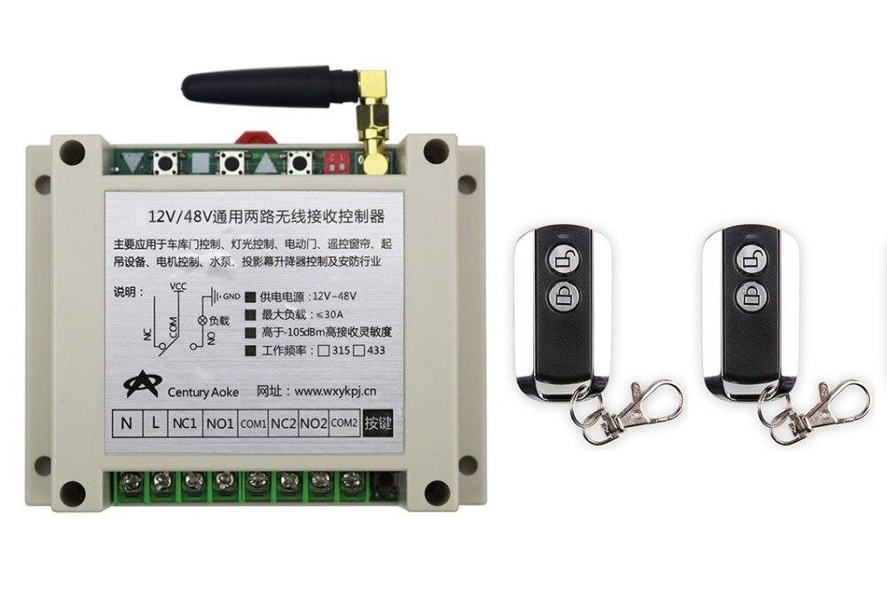 latest DC12V 24V 36V 48V 10A 2CH Wireless Remote Control Switch System 1pcs Receiver &amp; 2pcs 2 Keys metal waterproof Remote<br>