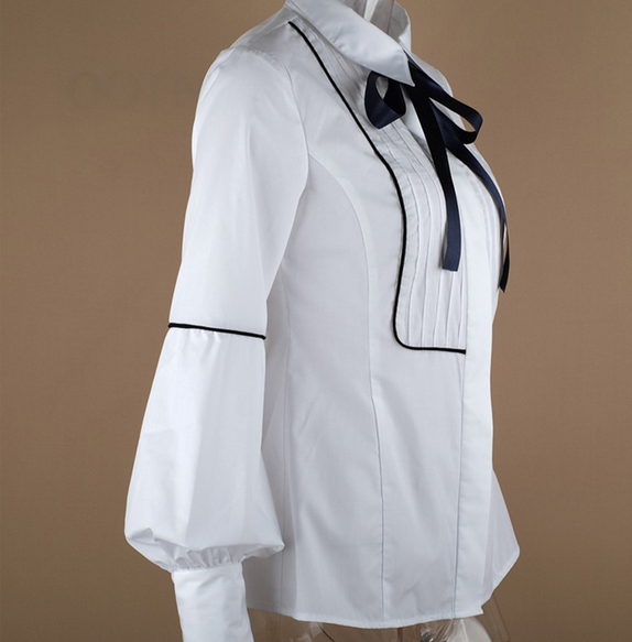 Office Bow Tie Blouse Women Lantern Sleeve White Button Necktie Shirts Female Elegant Work Shirt Casual Tops New 2018 Spring 13