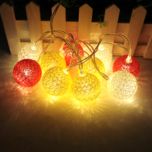 10Leds Holiday lights 3.5cm cotton ball led Light string fairy garland 1.2M 5 Series Christmas wedding Decoration Warm white W(China)
