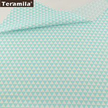 TERAMILA New Home Textile Cotton Twill Fabric Light Green Triangle Soft Quilting Cloth Tecido For Bed Sheet Baby Beding Dolls(China)