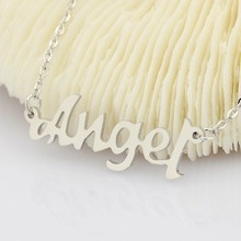 "1pc Stainless Steel Chain Necklace Word Angel Pendant Necklaces 17.7"" Fashion Jewelry Women Girlfriend Valentines Gift(China)"