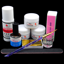Acrylic Powder Liquid 75ml Acrylic Powder Dust Glitter Nail Art Manicure Sets Brushes Primer Manicure 3D Nail Tips Tools Set Kit(China)
