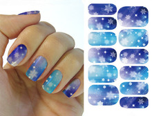Water Transfer Nail Art Stickers Decal Full Wraps Deep Blue Sky Snow Flakes Design DIY French Manicure