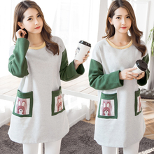 Han edition printing fashion to add flocking to film the new thickening hooded fleece pregnant women dress(China)