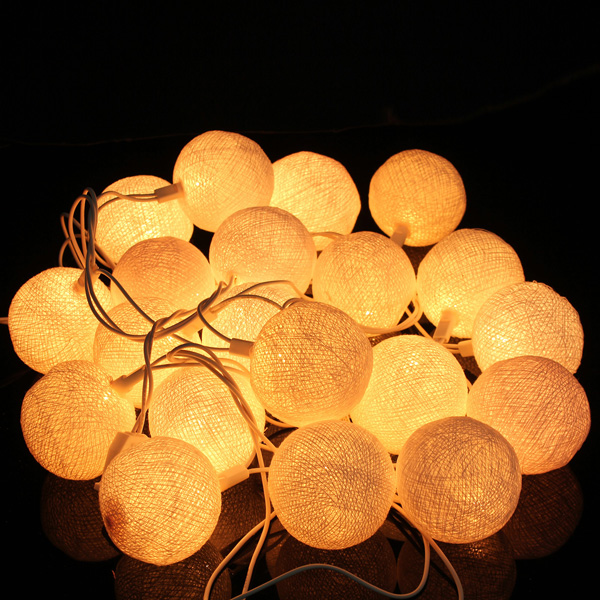 ball on a string. 3meters fabric cotton ball 20 led string lights fairy christmas wedding holiday party home decoration lamp on a