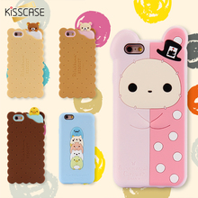 KISSCASE For iPhone 7 6 6S Plus 5S SE 3D Catoon Bear Duck Biscuit Silicone Rubber Phone Case For iPhone 6 6S 5 5S 6S Plus Cover