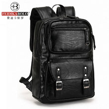 Leather Men's Backpack Male Bookbag Black Waterproof Mochila Masculina Knapsack Travel Mens Backpacks Mochilas Para Hombre(China)