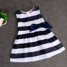 Hot sales cheap price promotion 2-8 years old  2015 Korean  cute breif  knee-length dress  stripe belt  girls wear  the spot