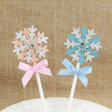 Handmade Beauty Snowflake Cake Baking Cupcake Party Supplies Birthday Wedding Party Decoration Birthday Cake Card(China)