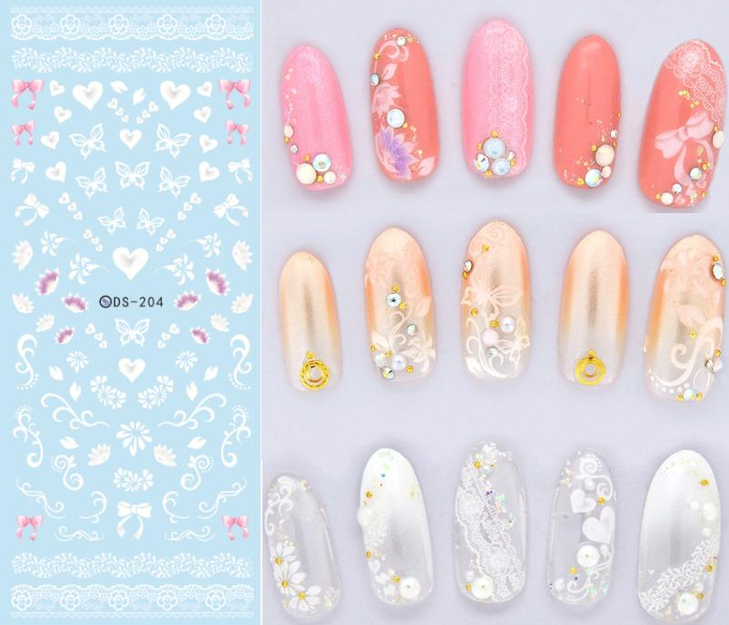 DS204 DIY Nail Water Transfer Nails Art Sticker White Transparent Butterfly Nail Wraps Sticker Watermark Fingernails Decals<br><br>Aliexpress