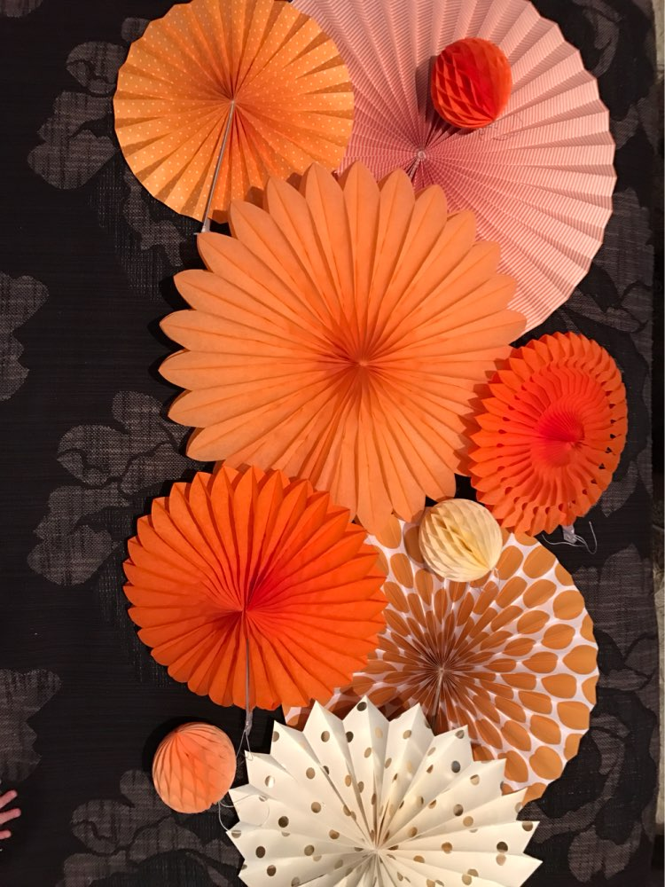 New Orange Set Paper Crafts Home Hanging Decoration Party Birthday Wedding Baby Shower Sunshine Bright Color Paper Fan 11