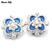 6PCS/Lot 18mm Crystal Butterfly Drop Oil Metal snap Button Women Charm Pendant Jewelry(China)