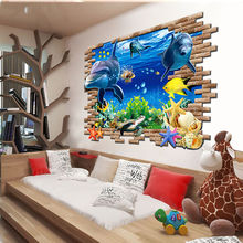2017 Cute 3D 50cm/70cm Ocean Dolphins Removable Vinyl Wall Sticker Kids Nursery Home Decor