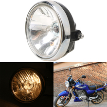 New 7'' Motorcycle Headlight Lamp Phare Moto Round Chrome Halogen Lamp Cafe Racer For Suzuki EN125 Harley Touring Honda Yamaha